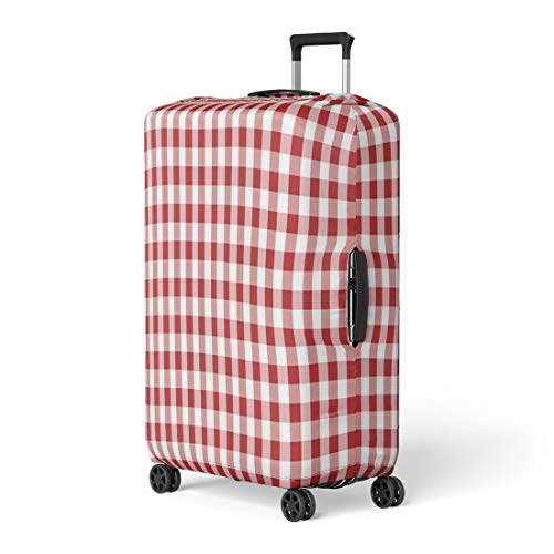 Pinbeam Luggage Cover Firebrick Gingham From Rhombus Squares for Plaid Tablecloths Travel Suitcase Cover Protector Baggage Case Fits 26-28 inches