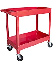 Torin APTC304B Steel Tool Service Push Cart with 2 Shelves and 150 lb Capacity, Red