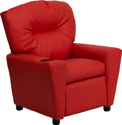 Offex OF-BT-7950-KID-RED-GG Contemporary Red Vinyl Kids Recliner with Cup Holder