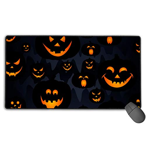 Happy Halloween Funny Pumpkins Thick Large Gaming Mousepad Office Mouse Pad Stitched Edges, Non-Slip and Waterproof Computer Keyboard Mouse Mat (15.7 X 29.5 X 0.12 Inches) ()