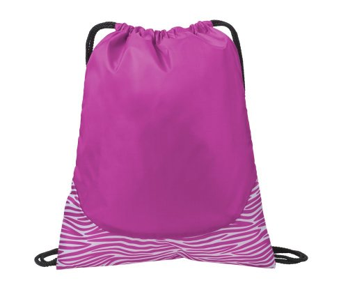 Port Authority Patterned Cinch Pack, Pink Zebra