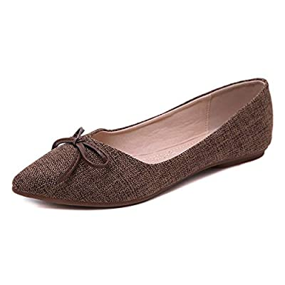 Orangetime Womens Pointy Toe Shoes Ballet Flats Cute Bow Dress Flat Shoes Slip On Moccasins | Flats