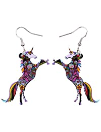 "BONSNY Signature Fantasy Collection ""NATHIAYA"" our Magical Unicorn Charm Statement Drop Dangle Acrylic Earrings Gift"