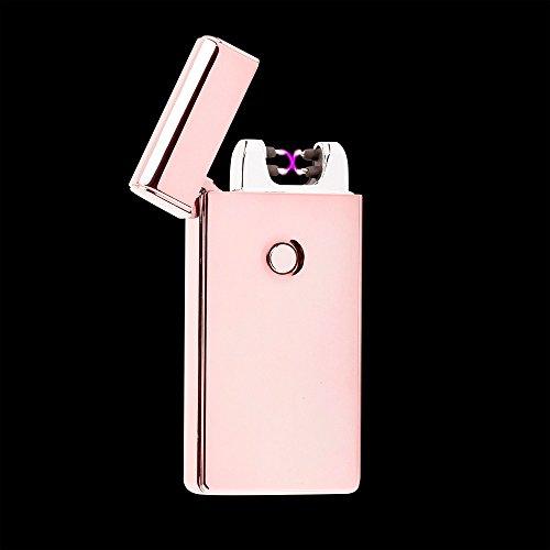 briquet à arc Plasma Electronic double Arc sans flamme coupe-vent USB rechargeable Coffret cadeau et câble USB Doré rose