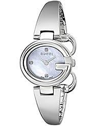 Gucci Guccissima Stainless Steel Diamond-Accented Bangle Womens Watch(Model:YA134504)