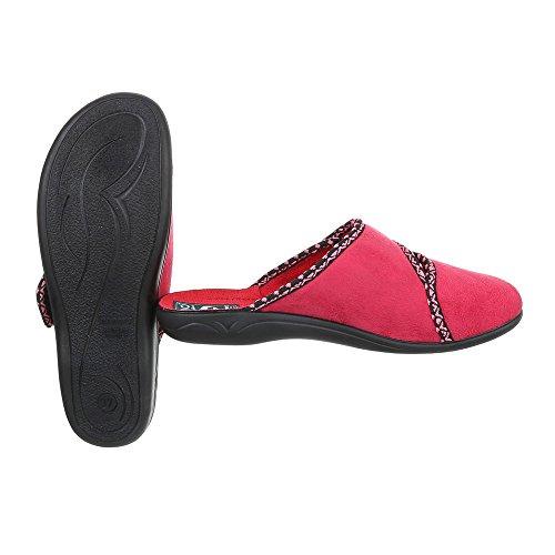 Ital-Design Hausschuhe Damenschuhe Pantoffeln Pantoffel Klettverschluss Freizeitschuhe Rot