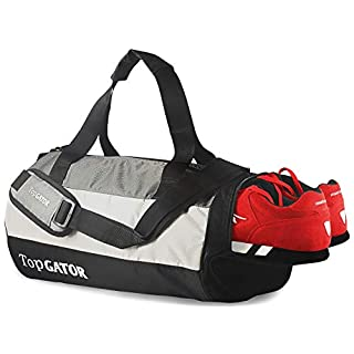 41tw7kQ13JL. SS320 TopGator Gym Bag Sports Duffel with Shoe Compartment 34 L (Grey/Black)