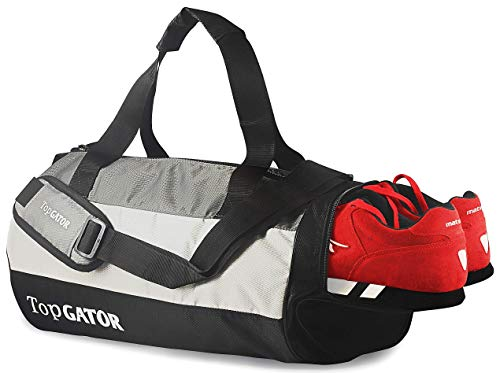 TopGator Gym Bag Sports Duffel with Shoe Compartment 34 L (Grey/Black)