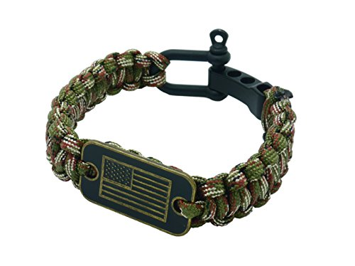 1f460083e7c667 aarrows & Co USA Flag Paracord Survival Bracelet High Tensile Cobra Weave  with Adjustable Bow Shackle (Green Camo)