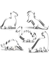 Dinosaur Cookie Cutter Set-3.5 3 -5 Piece-Stegosaurus, T-Rex, Brontosaurus, Camarasaurus, Baby Dinosaur Cookie Cutters molds for Kids Birthday Handmade Cookie Dinosaur Party Supplies Favors