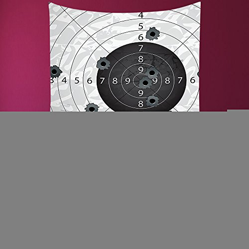 House Decor Square Tapestry-Military Decor Gun Bullet Holes On Paper Target Army Weapon Danger Violence Themed Image Charcoal Grey_Wall Hanging For Bedroom Living Room Dorm