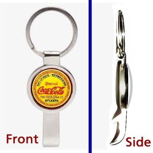 (retro classic vintage Coke Coca-Cola sign Pendant or Keychain Silver Tone Secret Bottle Opener)