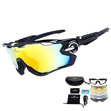 d6e2be32b9 TOPTETN Gafas de Sol Deportivas polarizadas Protección UV400 Gafas de  Ciclismo con 5 Lentes Intercambiables para Ciclismo, béisbol, Pesca, esquí,  ...