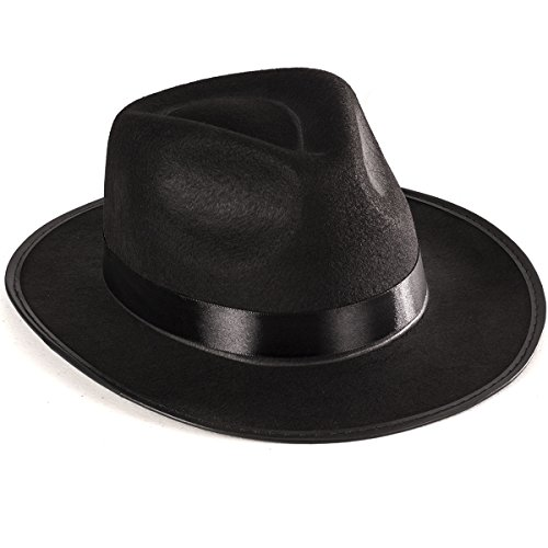Black Gangster Hat -