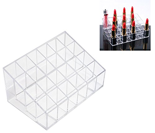 (Qingsun 24 Cosmetic Lipsticks Holder Perfume Nail Polish Jewelry & Cosmetic Storage Display Shelf Transparent Makeup Brushes Organizer Display Boxes Rack)