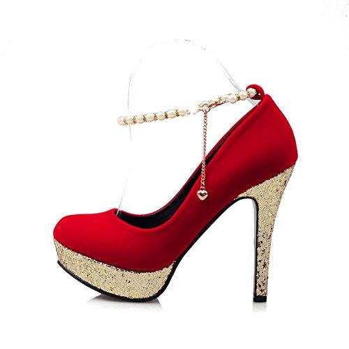 AllhqFashion Damen Schnalle Hoher Absatz Nubukleder Rein Rund Zehe Pumps Schuhe Rot