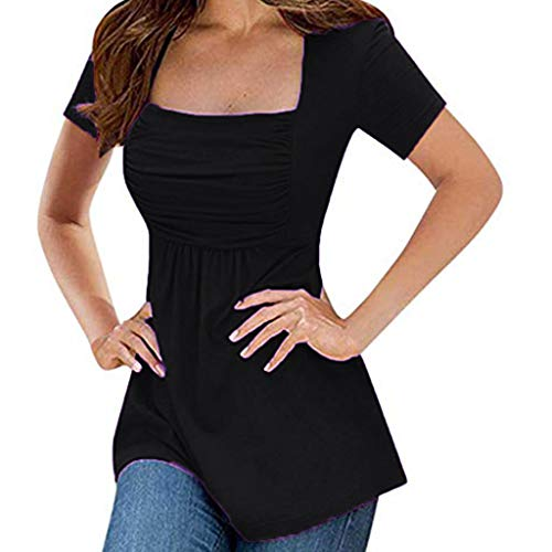 Kstare Women's Top Sexy Short Sleeve Deep U-Neck Blouses Solid Ruffles Pleated Slim Top Ruched T-Shirts