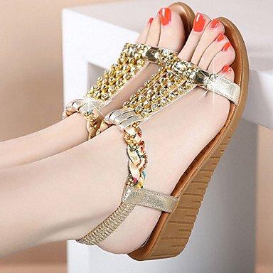 Sandalias primavera verano otoño casual PU Confort talón plano de strass plateado oro Gold