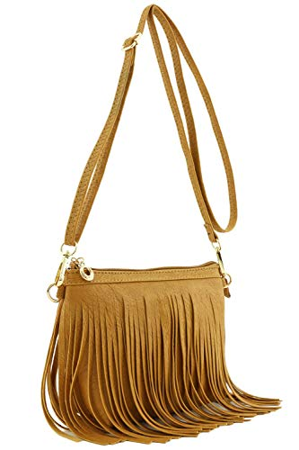 Small Fringe Crossbody Bag with Wrist Strap ()