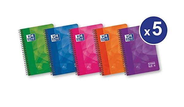 Oxford Lagoon - Pack de 5 cuadernos espiral con tapa de plástico, 8º: Amazon.es: Oficina y papelería