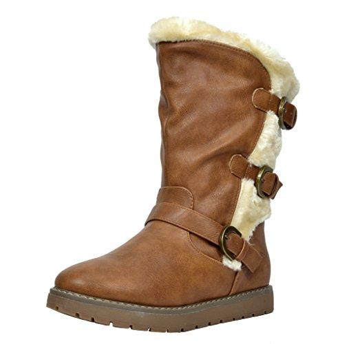 DREAM PAIRS Little Kid Korel Camel Pu Knee High Winter Snow Boots Size 3 M US Little Kid