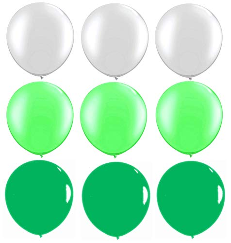 Elecrainbow 100 Pack 12 inch 3.2 g/pc Thicken Round Metallic Pearlescent Latex Balloons - Shining White + Dark Green + Light Green Balloons Party Supplies Decorations