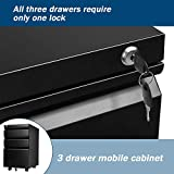 Black 3 Drawer Filing Cabinet with Lock 26 Inch