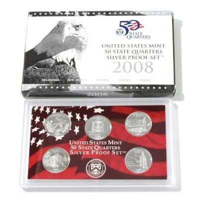 - 2008 United States Mint State Quarter Silver Proof Set Govt. Packaging