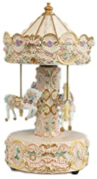 MusicBox Kingdom 14059 Beige Carousel Music Box Playing \