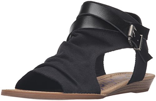 Blowfish Women's Balla Wedge Sandal, Black, 7.5 Medium US (Canvas Open Toe Wedge Heel)