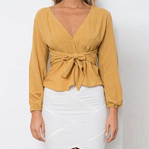 Collo Camicetta Elegante Strappy Donna Giovane HaiDean Glamorous Lunghe Camicia Semplice Colore Bluse Camicie Solido Giallo Top Moda Slim Maniche V Fit wqUxxE5Xz