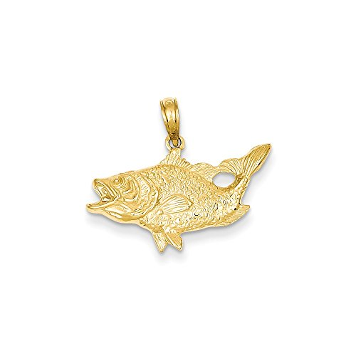 - 14k Yellow Gold Open Mouthed Bass Fish Pendant