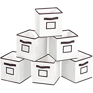 Foldable Storage Bins with Label Holders, MaidMAX Set of 6 Nonwoven Cloth Organizers Basket Cubes with Dual Handles for Clothes, Socks, Books, DVDs, Beige