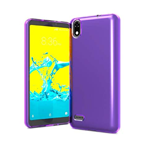Tempered Glass + TPU Flexible Skin Protective Case Phone Cover for ZTE Avid 559 + Gift Stand (Purple)