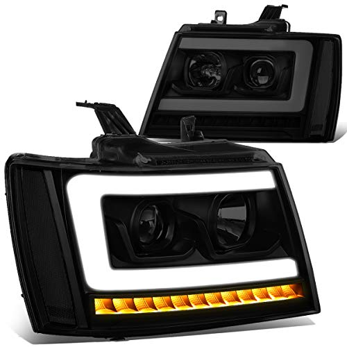 - Pair LED DRL+Sequential Turn Signal Projector Headlight Lamps for 07-14 Chevy Tahoe/Suburban/Avalanche Tinted/Clear