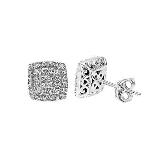 Brilliant Expressions 10K White Gold 1/3 Cttw Conflict Free Diamond Square Cushion Double Halo Stud Earrings (I-J Color, I2-I3 Clarity)