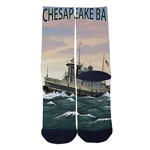 Men's Women's Custom Crew Socks Maryland Chesapeake Bay Tugboat Scene Poster Socks Colorful Patterned Comfortable Socks Black