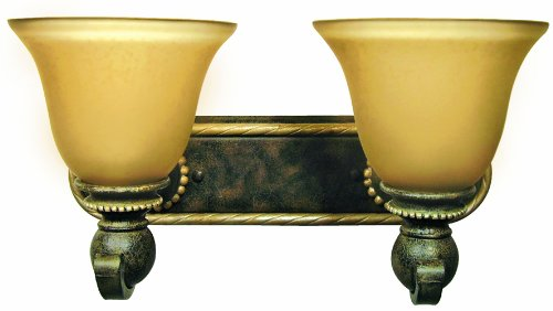 Yosemite Home Decor 6302-2GS Ahwahnee Two Light Bath Vanity with Honey Parchment Glass Shades in Grecian Stone Finish, 18