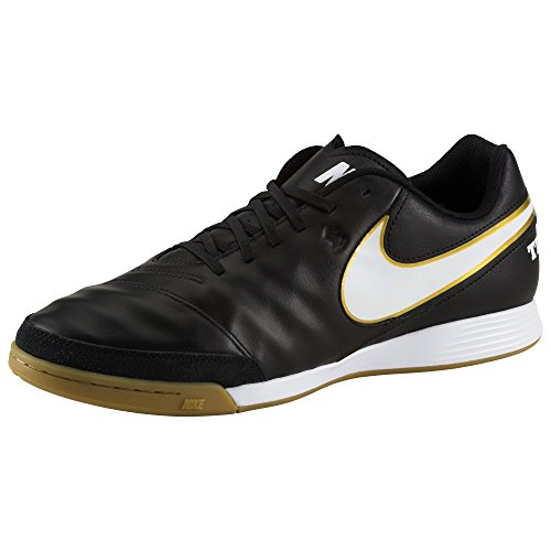 NIKE Men's Tiempo Genio II Leather IC Indoor Soccer Shoe (SZ. 10.5) Black