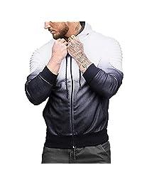 Pervobs Mens' Autumn Long Sleeve Splicing Fold Hooded Coat Sweatshirt