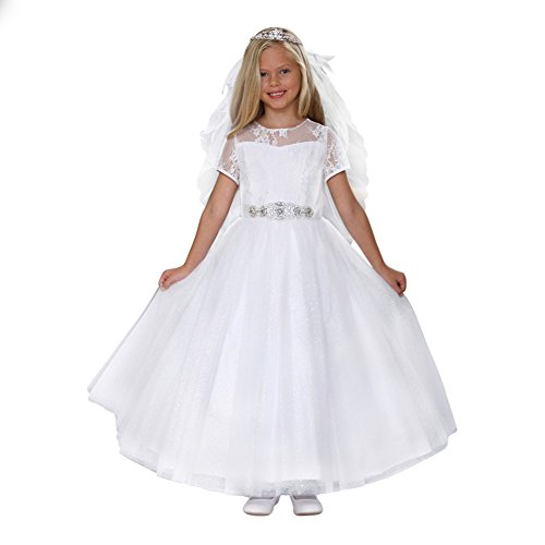 Angels Garment Big Girls White Sparkle Tulle Corset Back Bow Communion Dress 7 by Angels Garment