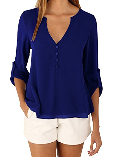 Sumtory Women's 3/4 Cuffed Sleeve Chiffon Blouse Button V Neck T Shirt(S-5XL) – Small, Blue