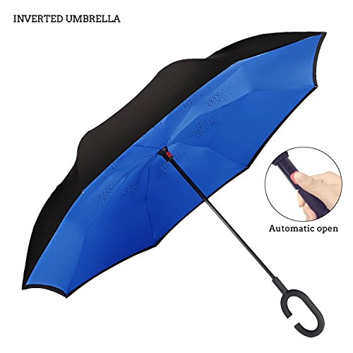Automatic inverted Umbrella For Car By AmbrellaOK C Shaped Hands Free Handle Reverse Folding Design Lightweight & Windproof ? Ideal Gift Men & Women