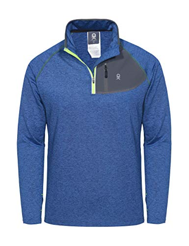 Little Donkey Andy Men's Half Zip Stand-Collar Long Sleeve Running Top Blue Heather L