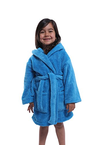 Unisex Hooded Plush Bathrobe – 100% Micro-Fleece Warm and Soft – Girls - Boys Robe, Made in Turkey Blue 12 ()