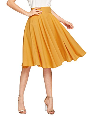 Floerns Women's Pleated High Waist Zipper A Line Midi Skirt Mustard L by Floerns