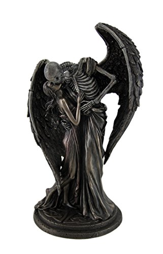 Polyresin Statues The Kiss Of Death Antique Bronze Finish Winged Skeleton Statue 4.5 X 10 X 6 Inches Bronze