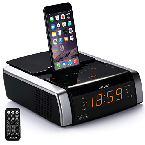 VELOUR iPhone Docking Station with Speaker, Charge/Play for iPhone X/8/8plus 7/7plus 6/6s/6splus 5/5s/5c via Apple MFi Certified Lightning Connector, with Clock Dual Alarm Radio Bluetooth USB AUX-in