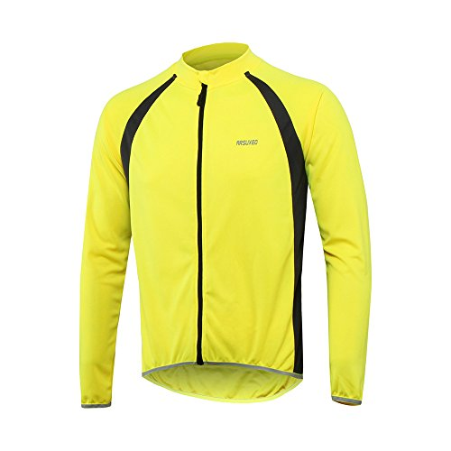 ARSUXEO Men's Long Sleeves Cycling Jersey MTB Bike Reflective Shirt 6025 yellow Size X-Large ()