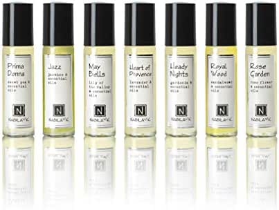 Roll-On Perfume with Essential Oils Collection by Nabila K (Seven Bottles) Organic and Alcohol-free